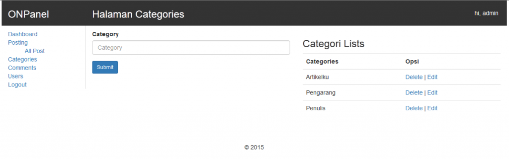 cara membuat website halaman categories