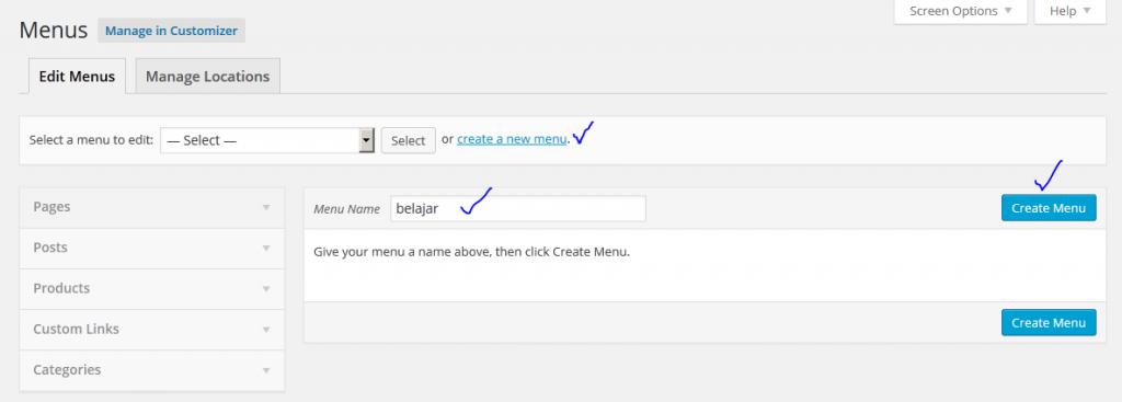 membuat menu di wordpress 2