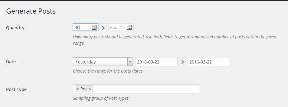 fakerpress generate posts
