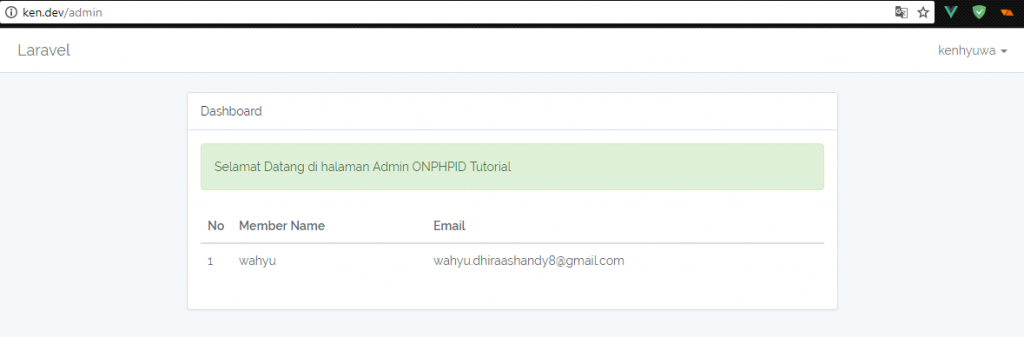 Admin Page Laravel